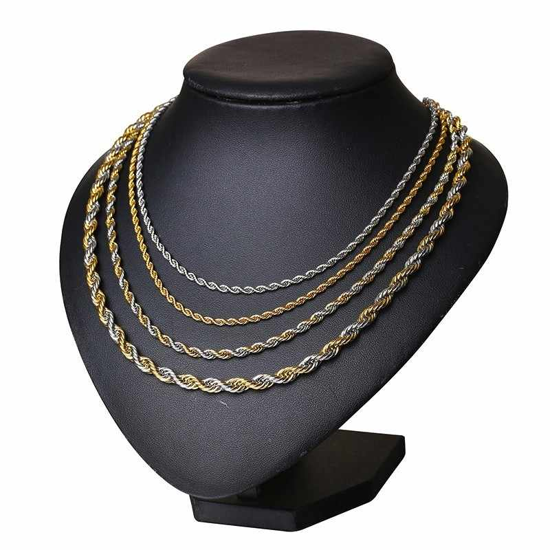 04529fe1506d8 English Rope Chain Men Necklace in Stainless Steel Two Tone Assorted Sizes