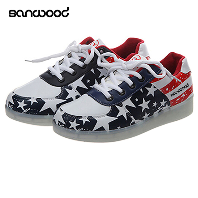 3571eba9c197 New Arrival Boy Girl Star LED Light Luminous Shoes Lace Up USB Rechargeable  Sneaker Shoes