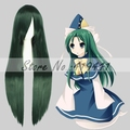 Free Shipping 100cm Long Straight Hair Touhou Project Mima Dark Green Wig Synthetic Anime cosplay Hair wig
