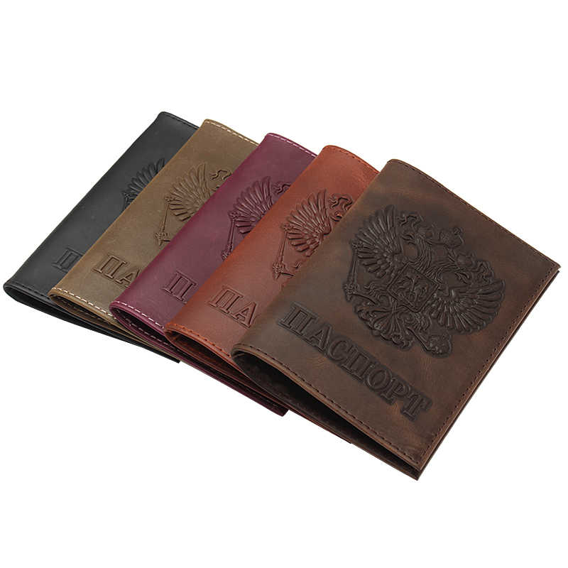 ヴィンテージナチュラルクレイジーホースレザーロシアエンブレムロゴパスポートカバー男性本革パスポートケース直送