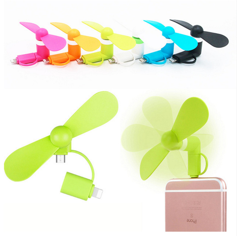 Portable 2 in 1 Mini USB Fans for Samsung / HTC/ Huawei/ LG/ Sony Android Phone Cooling Fan for iPhone 7 6S 6 / 6S Plus 5SE 5S 5