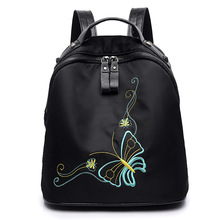 Fashion Backpack Women Embroidery Black Backpacks for Teenage Girls School Bag Travel Backpacks mochila escolar