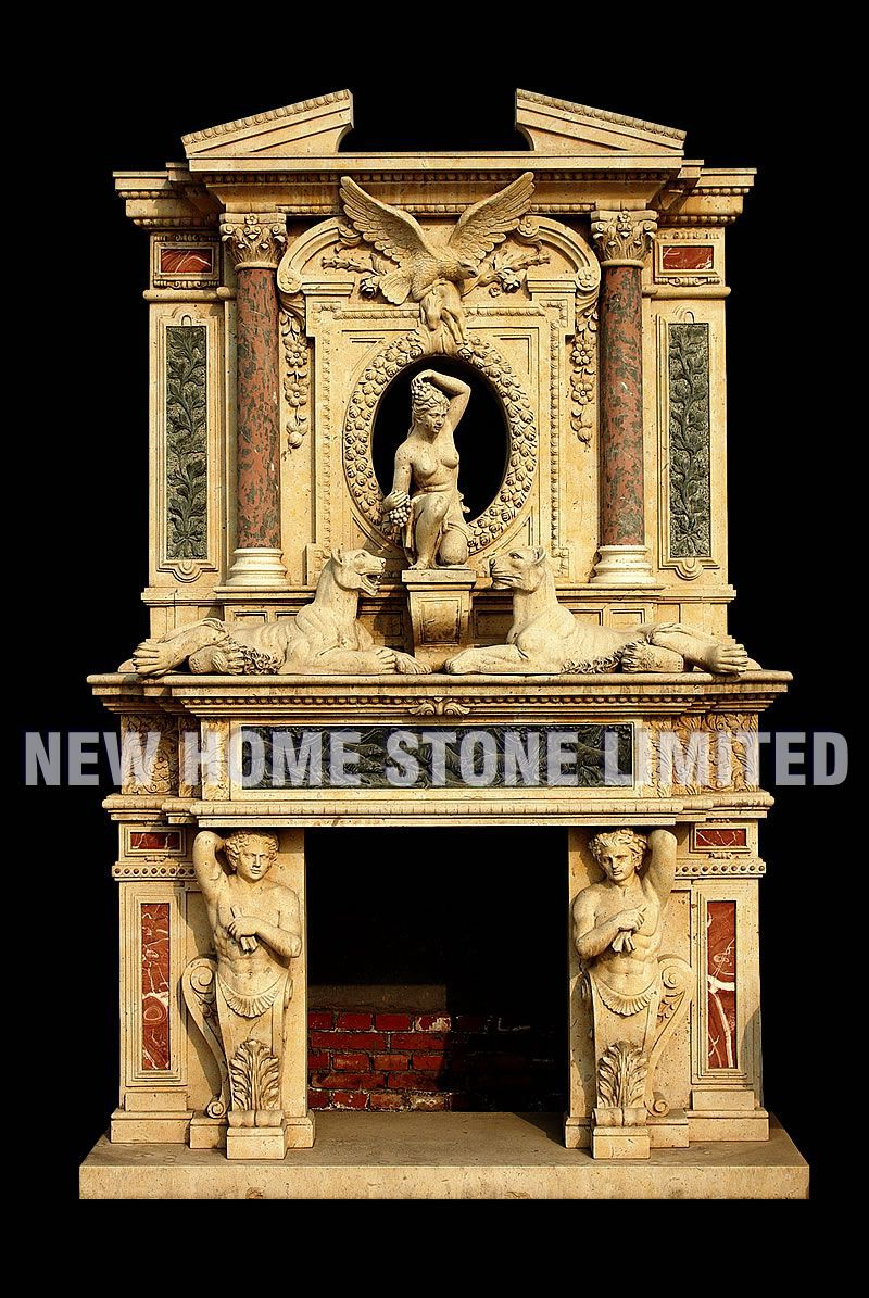 Marble Column Wall : Beige marble column carved double fireplace wall decorate