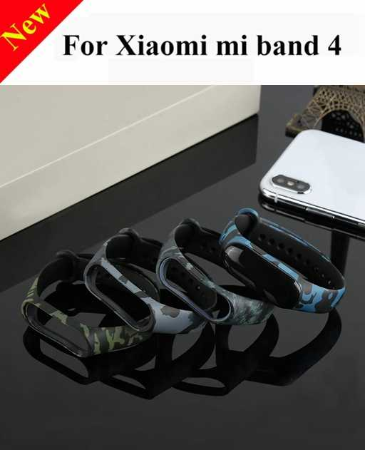New!!! Camouflage Printing Silica Gel Wristband Band Strap for Xiaomi Mi Band 4 Accessories Mid Band Wrist Band 4