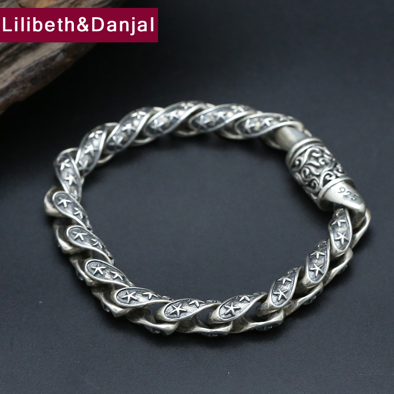 2017 925 Sterling Silver Bracelet Men Jewelry Vintage 9mm Wide Classic Star Bangle Bracelet Women Gift Fine Jewelry B12 все цены