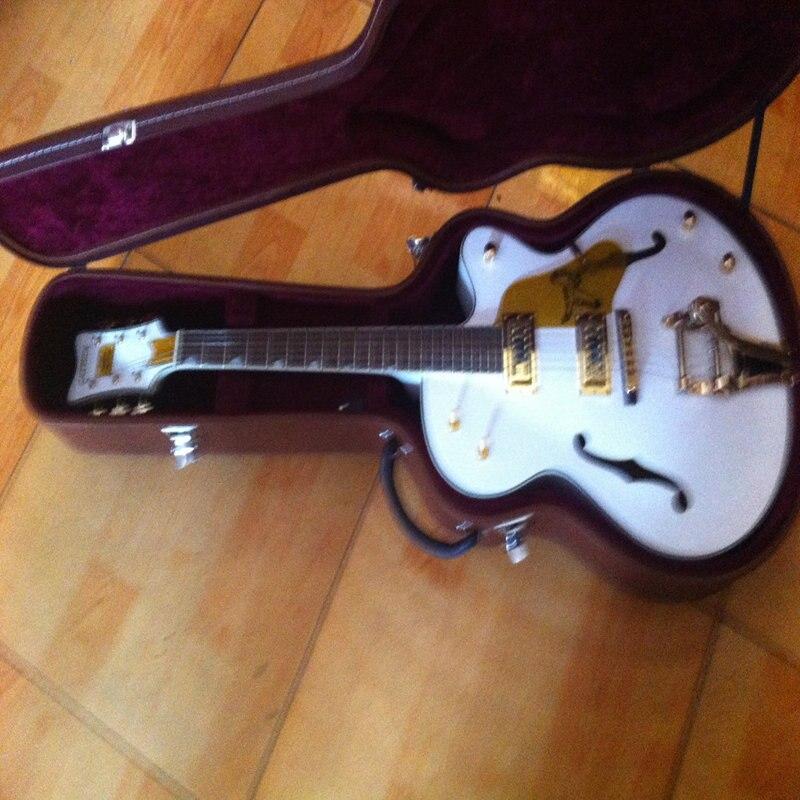 Personalizada de fabrica branco Gretsch Falcon 6120 coreano sintonizadores Jazz guitarra eletrica com Bigsby Tremolo gratisfrete