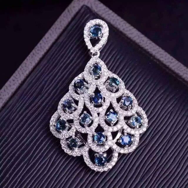 Естественный голубой сапфир кулон S925 серебро Природных драгоценных камней Ожерелье модный Элегантный вентилятор Феникс хвост женщины партия ювелирных изделий