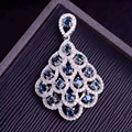 natural blue sapphire pendant S925 silver Natural gemstone Pendant Necklace trendy Elegant fan Phoenix tail women party jewelry
