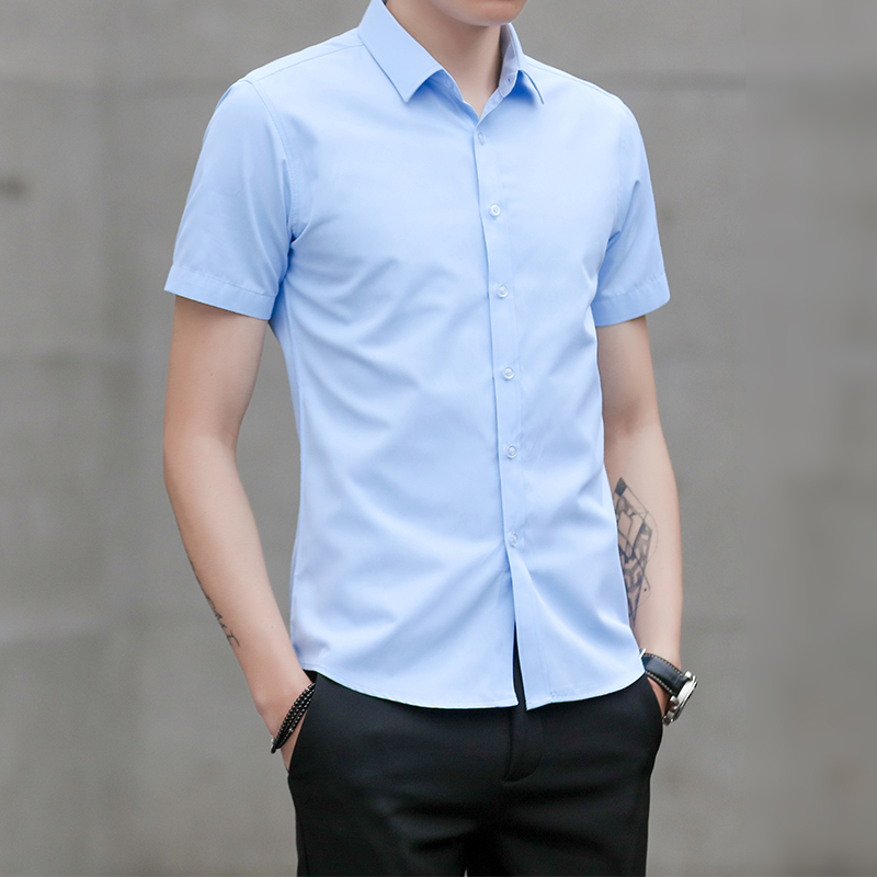 Short Sleeve Shirt Men New Summer Fashion Chemise Homme Mens Business Casual Men Blouse Solid Shirt