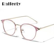 e3b041d653 Ralferty de gafas Vintage mujeres marco miopía gafas óptica marcos de gafas  de color rosa claro gafas oculos de grau femenino W3.
