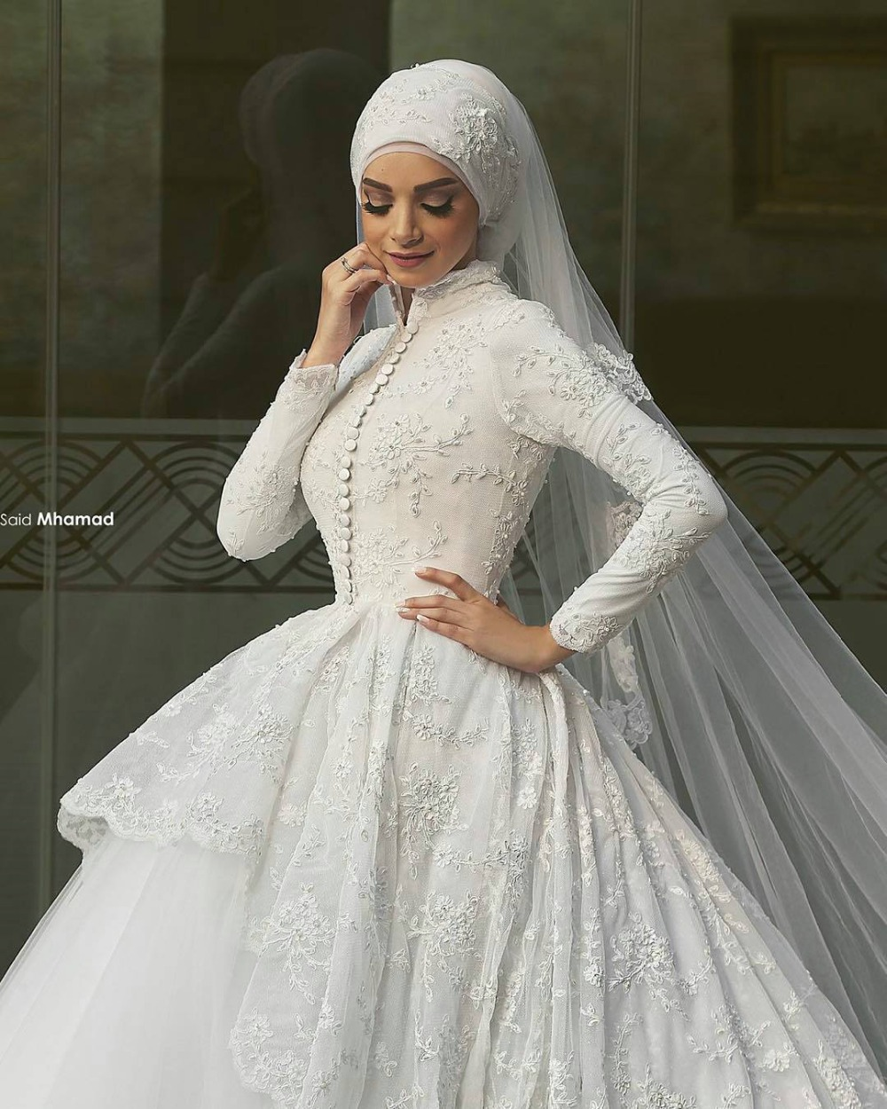 muslim wedding dresses White Lace Long Sleeve Muslim Wedding Dress Mermaid High Neck Bridal Gown Arabic