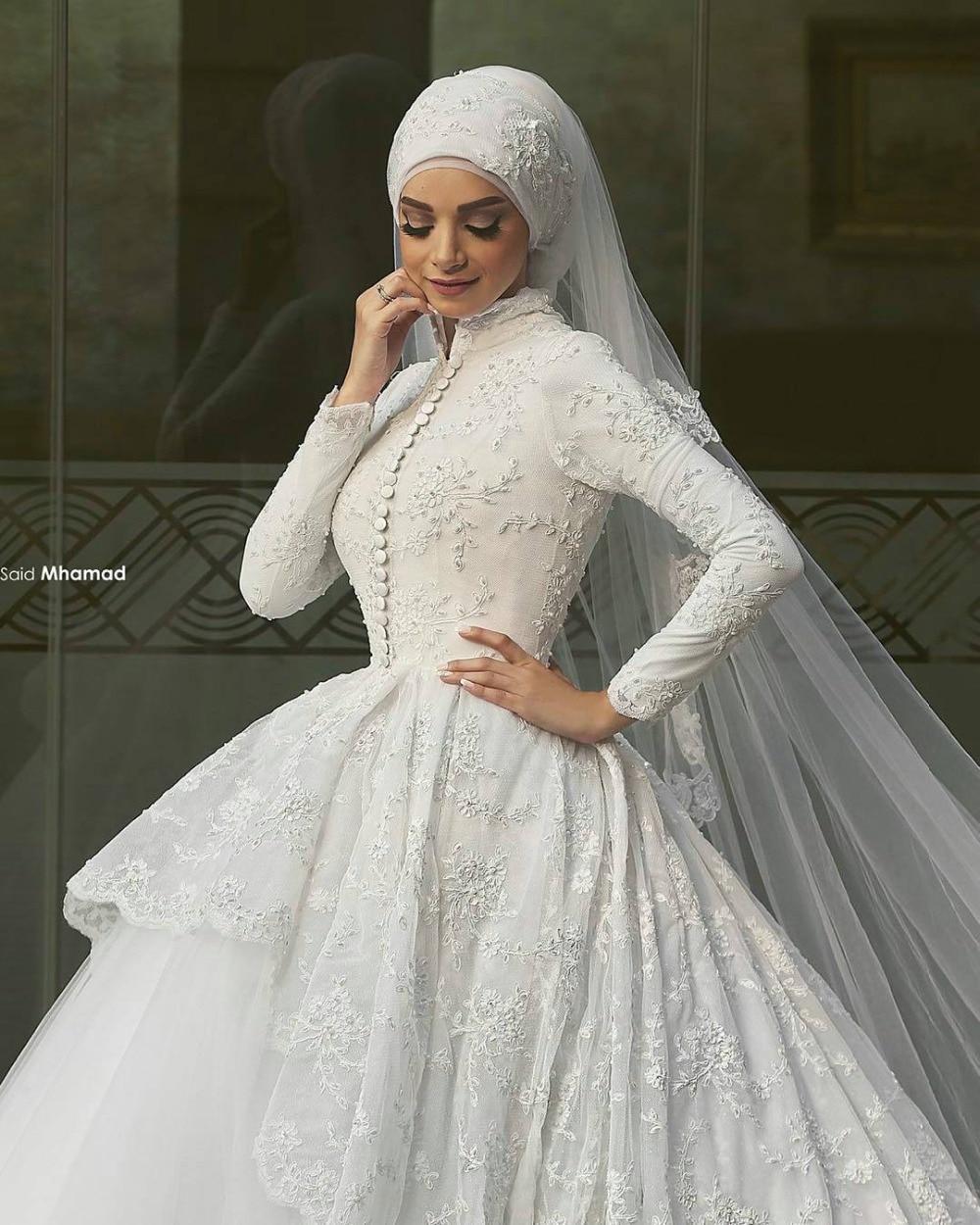 2016 muslim wedding dresses with long sleeves appliqued high neck arabic hijab wedding dress lace ball