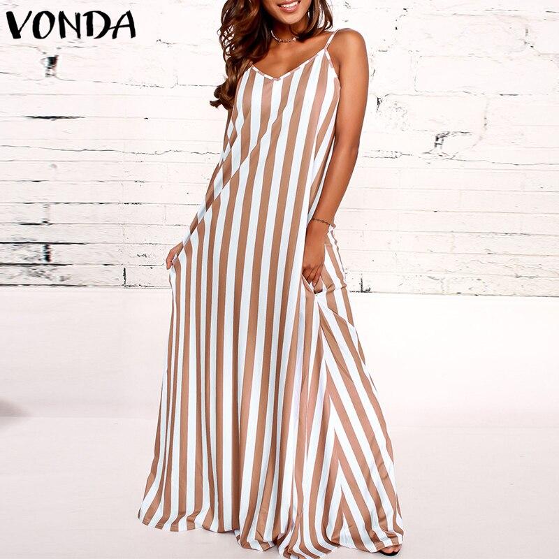 Women Striped Dress 2018 VONDA Summer Casual Loose Sexy V Neck Sleeveless Beach Maxi Long Vestidos Plus Size Dresses Hot