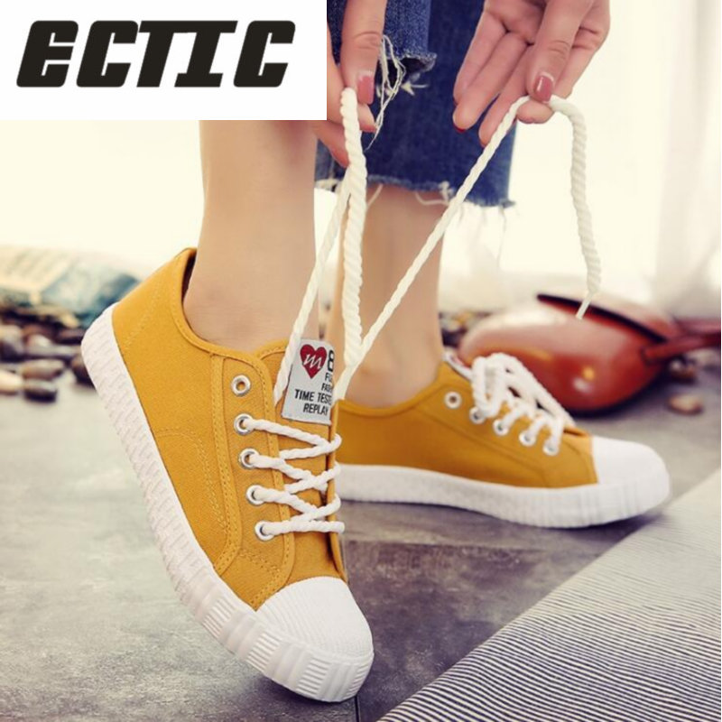 ECTIC 2018 New Women spring shoes fshion sneakers solid sewing adult canvas shoes woman fabric sapato feminino size 35-40 YA-22