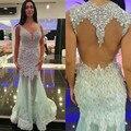 Brillante de moda de la sirena 2016 nuevos atractivos del verano menta con cuentas de cristal de encaje de Organza de baile vestidos partido vestido de noche largo