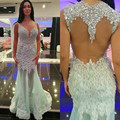 Shining Fashionable Mermaid 2016 New Sexy Summer Mint Beaded Crystal Lace Organza Prom Dresses Long Evening Party Dress
