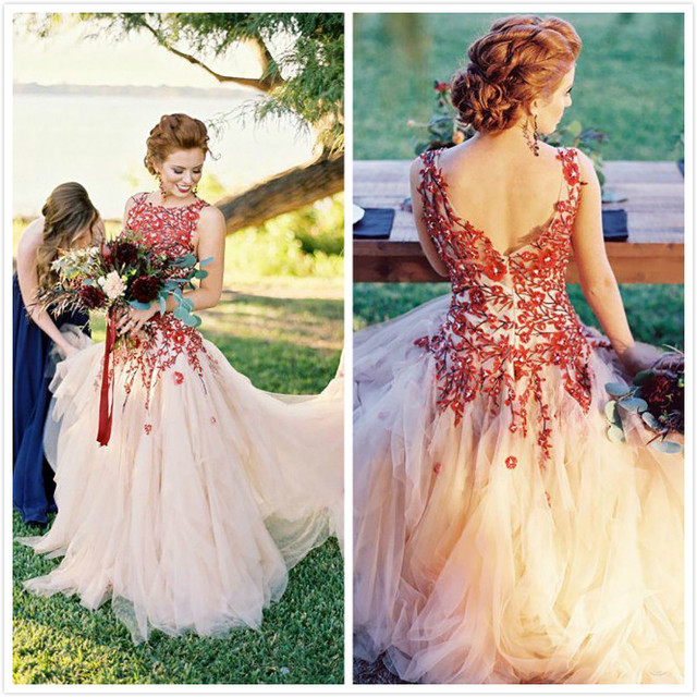 0c5aef77890 New Autumn Picnic Wedding Inspiration Bridal Gown 2015 Colorful Tulle Scoop  Zipper A-Line Wedding Dresses with Embroidery Custom