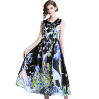 HAMALIEL Vintage Court Big Swing Women Long Dress 2019 Fashion Spring Sleeveless Printed Animal Dresses Slim Vest Party Dress