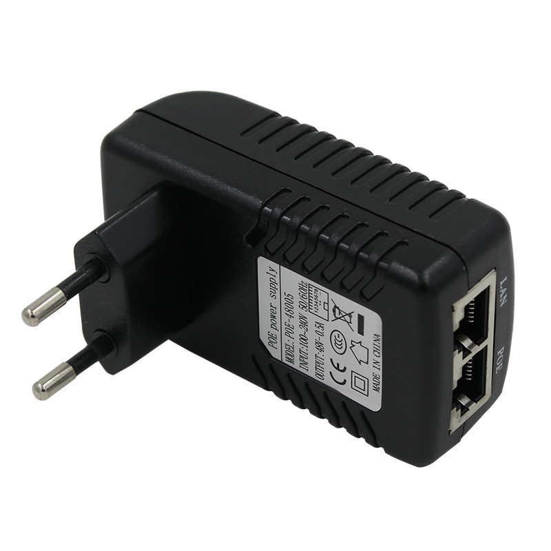 Cameye 48V DC 0.5A Active POE Injector for CCTV POE IP Camera POE Switch Ethernet Power Adapter EU standard plug