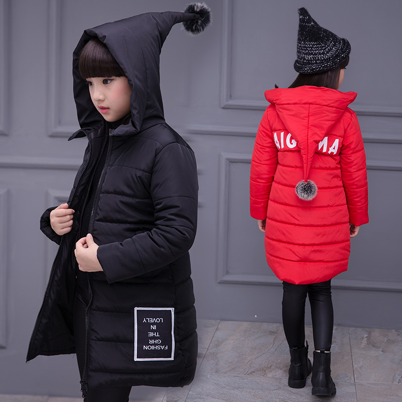 2018 Fashion Big Girls Jacket Medium-long Winter Coat for Girls Thermal Cotton-padded Jacket Children Clothing with Hood new arrival maternity clothing winter outerwear cotton padded jacket fashion top fashion warm jacket medium long plus size