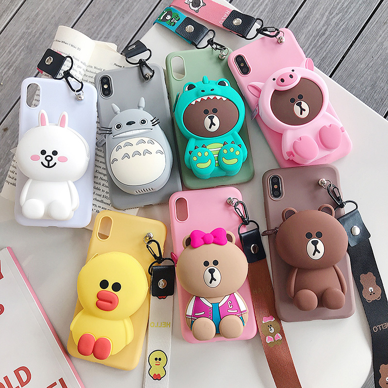 Zipper Wallet Cartoon Phone Case for Huawei Honor 7X 7A 7C 8C 8X Max Play 8A 8 Pro 9 9N View 10 20 Lite 20i Soft Silicone Cover-in Fitted Cases from Cellphones & Telecommunications