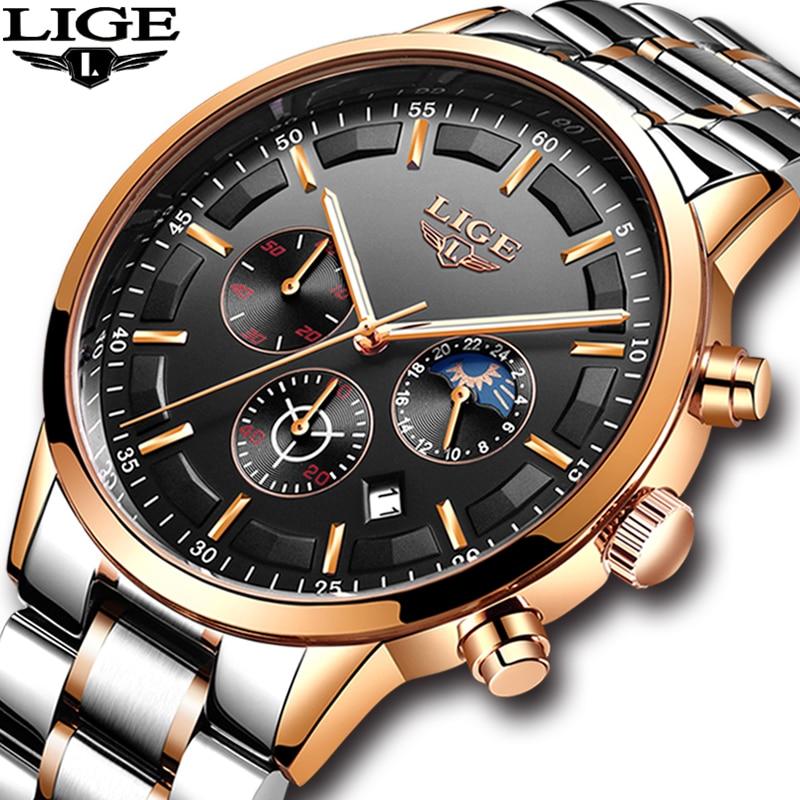 2018 Mens Montres de LIGE Top Marque De Luxe Hommes D'affaires Décontractée Montre Hommes Étanche Sport Quartz montre-Bracelet relogio masculino