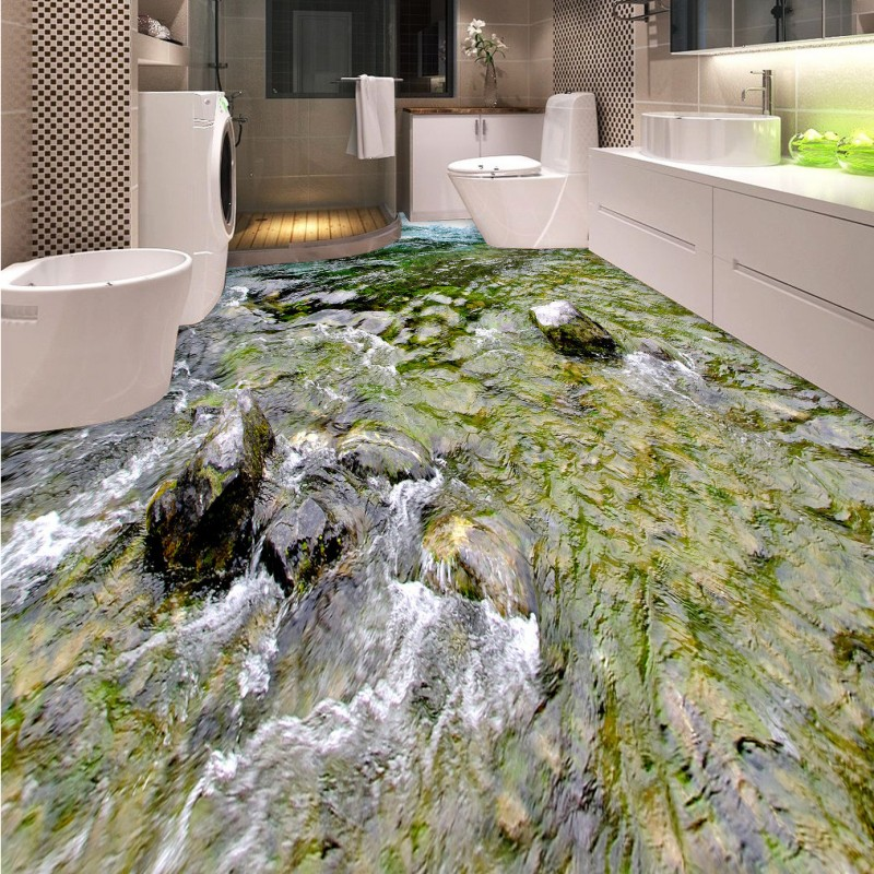 Free Shipping balcony living room flooring painting Clear Stream self-adhesive PVC floor wallpaper mural free shipping star galaxy cosmos 3d flooring painting wallpaper restaurant tea house self adhesive pvc floor mural