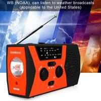 HR12W Solar Radio FM AM NOAA SOS Emergency Broadcast Waterproof LED Crank Illumination Radio Receiver Camping Radio