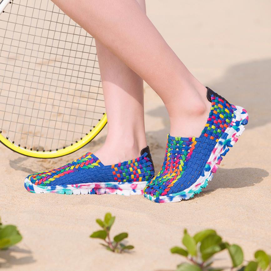 8de9f34d91bf Women Woven Flats Breathable Shallow Mouth Lazy Slip Resistant Comfort  Beach Shoes Female Ladies Colorful Flats zapatos mujer A8-in Women s Flats  from Shoes ...