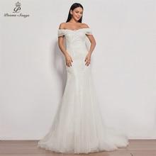Robe de mariée sirène en dentelle, paillette ivoire, col bateau, robe de mariée sexy, nouveau style, robe de mariée, 2020