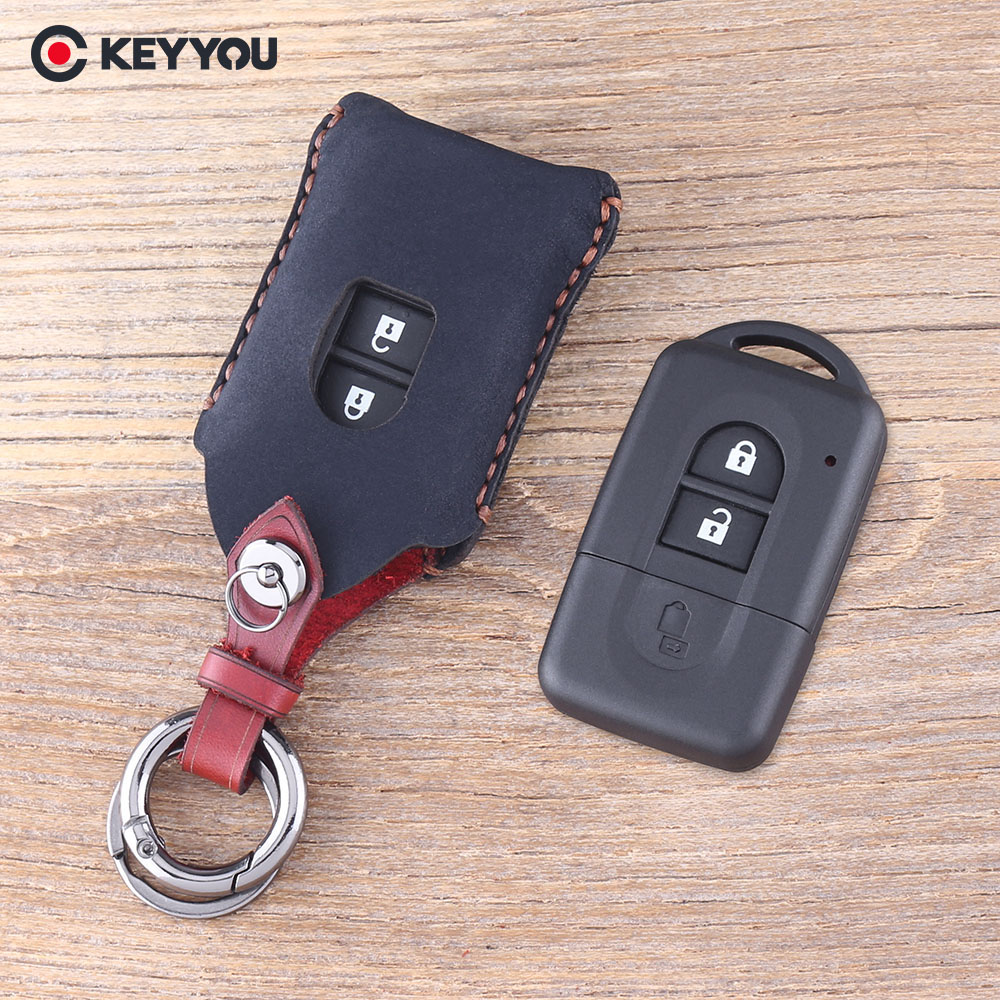 Happyit Leather Car Key Cover cases Keychain for Nissan Duke MICRA QASHQAI JUKE X-Trail NAVARA 3 Buttons Remote