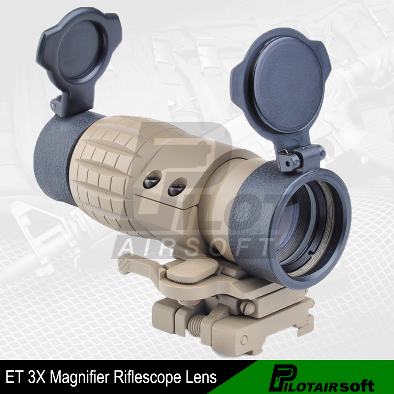 Pilotairsoft Tactical Aim Optic sight 3X Magnifier Scope Compact Hunting Riflescope with Fit for 20mm Rifle Gun Rail Mount (TAN) 4x magnifier scope fts flip to side for aimpoint or similar scopes sights for airsoft hunting