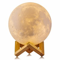 10 CM Rechargeable 3D Print Moon Lamp 2 Color Change Touch Switch Bedroom Bookcase Night Light