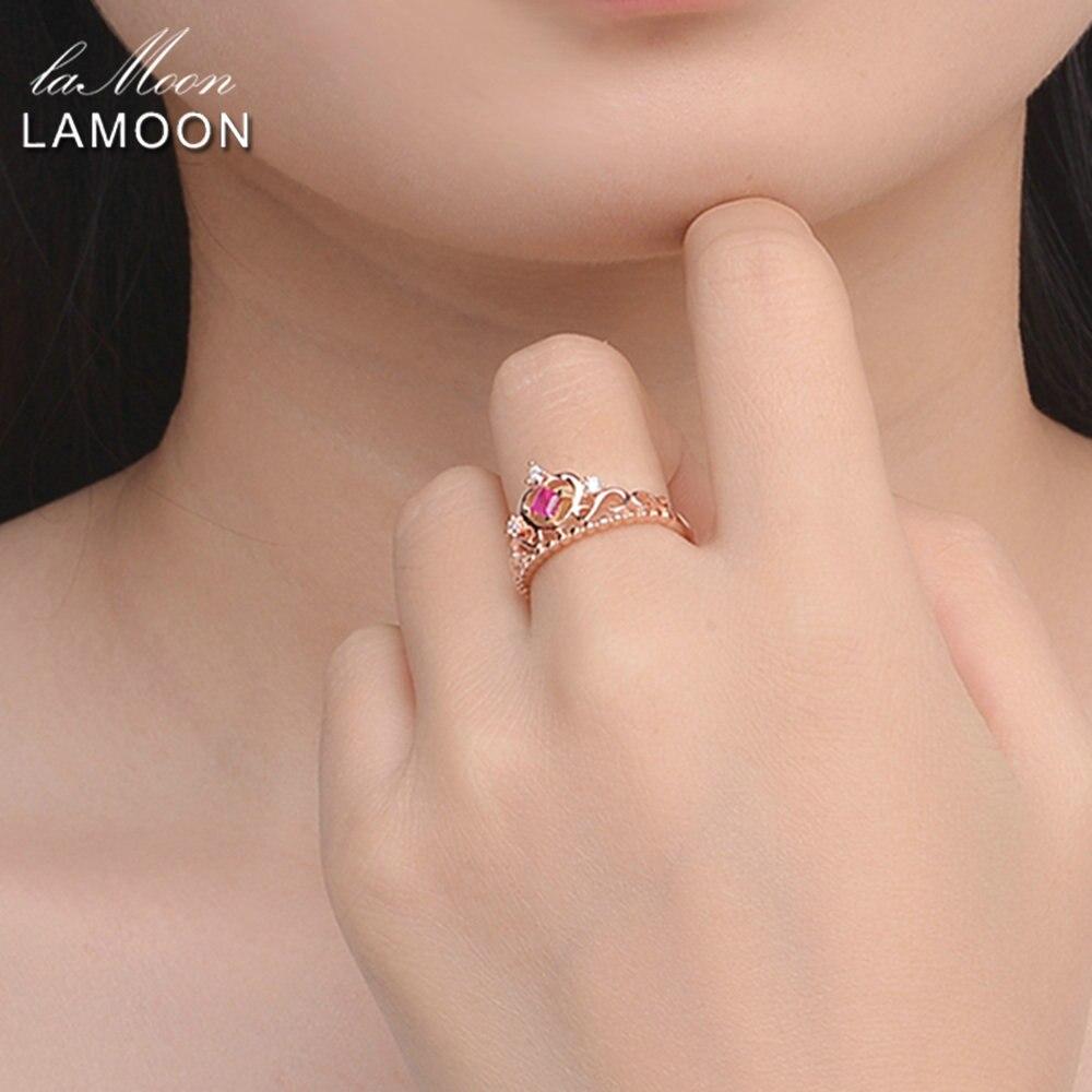 LAMOON- 실버 925 보석 공주 컷 0.2ct 100 % 진짜 루비 천연 - 화인 주얼리 - 사진 2