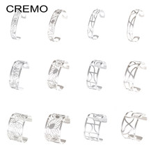 Wide Hollow Bracelets Argent Cuff Bangles For Women Bijoux Yoiumit Stainless Steel Jewelry Manchette Reversible Leather Bangles(China)