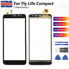 """4.95"""" Mobile Touch Screen For Fly Life Compact Touch Screen Glass Digitizer Front Glass For Fly Life Compact Cell Phone + Tools"""