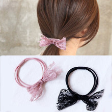 2018 New headband Korean Black Lace Comfortable Pink Handmade 1PC/2PCS Women Hair Rope Bowknot Elasticity Three Layer for Girls(China)