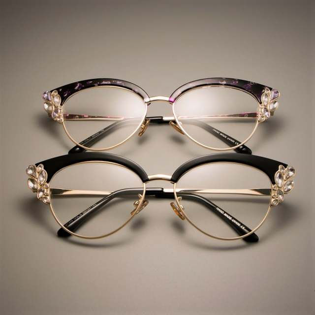 65ee8c7f177d CCSPACE GORGEOUS Ladies Cat Eye Shiny Rhinestones Glasses Frames For Women  Brand Designer Eyewear Optical EyeGlasses 45120-in Eyewear Frames from  Apparel ...