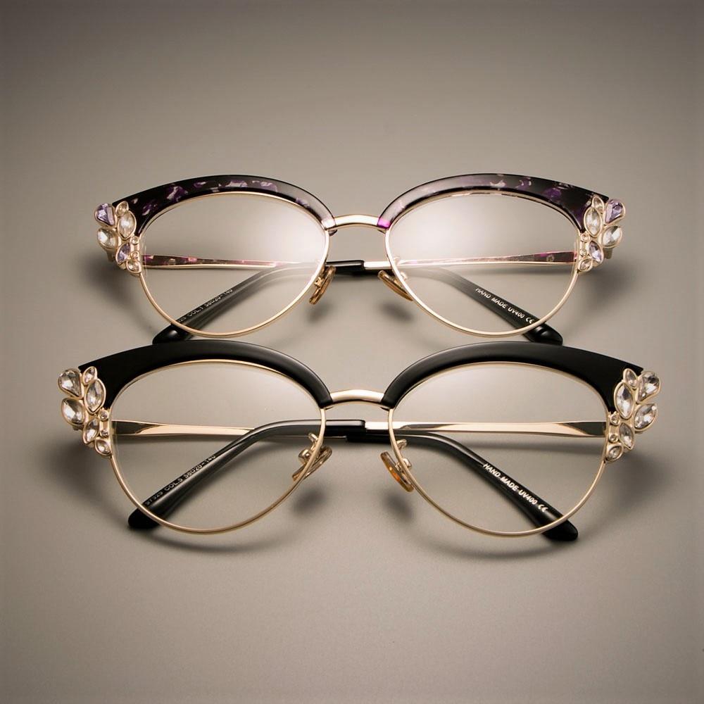 CCSPACE WUNDERSCHÖNE Damen Katzenauge Glänzenden Strass Brille ...
