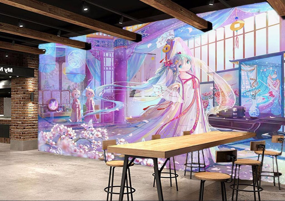 3d room photo wallpaper custom mural non-woven Anime beautiful girl picture painting 3d wall murals wallpaper for walls 3 d 3d wall murals wallpaper for living room walls 3 d photo wallpaper sun water falls home decor picture custom mural painting