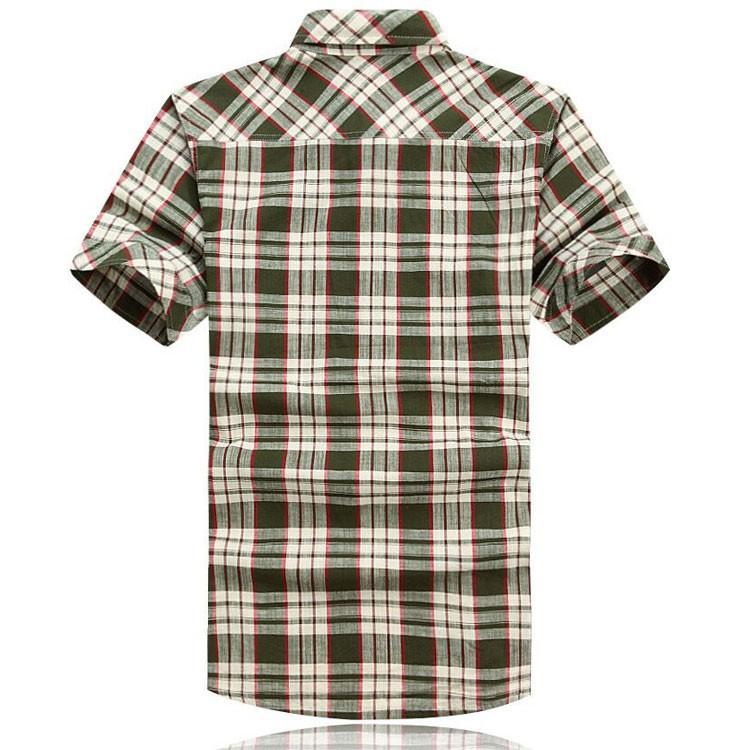 3XL 4XL 5XL 2015 Summer Plaid Men Cotton Short Sleeve Dress Shirts Camisa Hombre Patchwork Blouse Vestido Men Clothes Casual (2)