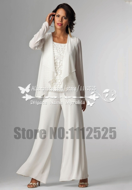 Mother Of The Bride Pant Suits With Jacket Three Piece Outfit Chiffon White Wedding AMP1065
