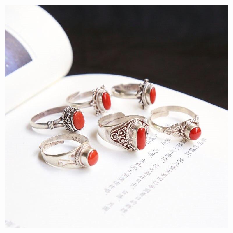 Anillos de plata de ley 925 hechos a mano con incrustaciones de Coral rojo para niñas, joyería Vintage de nepalí, varios diseños T9157