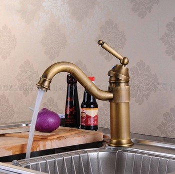 Single Handle Mixer Tap Bathroom & Kitchen Sink Water Faucet Antique Brass Rotable Basin Faucet Taps znf007 fashion single cold basin faucet europe style total brass antique bronze kitchen faucet swivel kitchen mixer tap sink tap