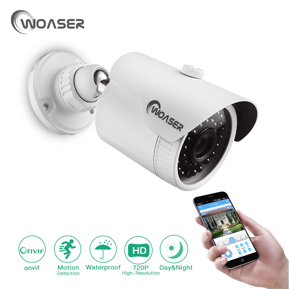 WOASER 720P Security IP Camera 1.0MP XMEYE Remote APP Waterproof IP66 ONVIF Motion Detection Email Alert 10-20M IR Distance lole леггинсы lsw1234 motion leggings m blue corn