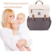 New Fashion Mummy Bag Multi Function Large Capacity Waterproof 600D Matte Cloth Gray White Backpack Mother Out Shoulder Bag