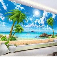 Beibehang Custom Large Fresco Wallpapers 3D HD Beautiful Fantasy Sea View Coconut Trees Beach Scenery TV