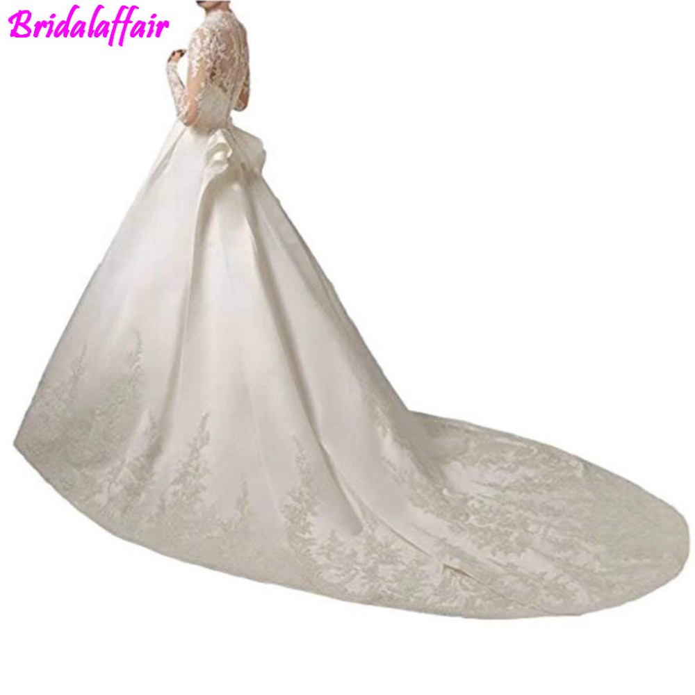 Womens Long sleenes Wedding Dress 2018 Gowns for Bride Sleeve Luxury Lace Satin Train bridal dresses