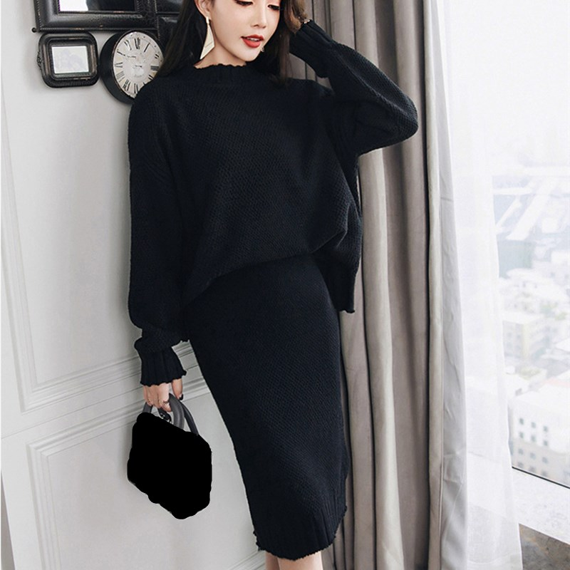 3 Colors Winter Knitted Sweater Skirt Set Batwing Sleeve Warm Two Piece Tracksuit Women Cashmere Suit Casual Knitted Suit