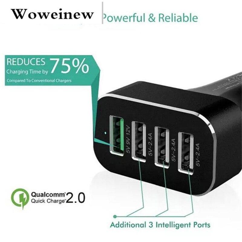 Woweinew 2016 הגעה חדשה סגסוגת אלומיניום מטען לרכב QC2.0 מטען 4USB יציאת יוניברסל חינם shiipping